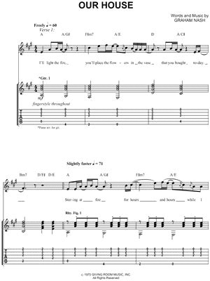 our house chords crosby stills nash quot our house quot guitar tab print