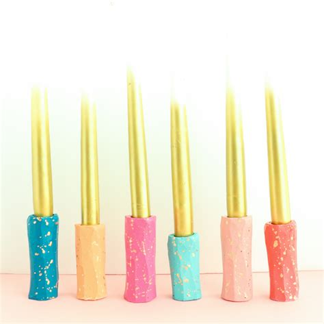 diy taper candle holders diy it gold splatter taper candle holders a kailo chic