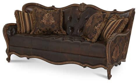 lavelle melange leather fabric wood trim tufted sofa