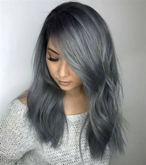 How To Slate Gray Metallic Hair Color Hair Curly Hair