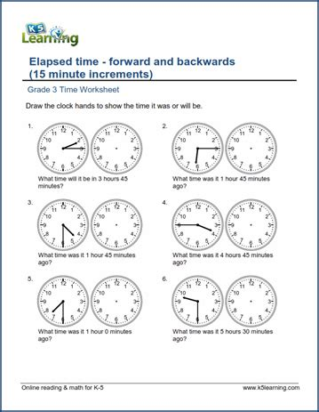 grade 3 time worksheet changes in time hours and half hours k5 learning