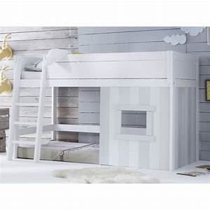 Lit Cabane Mezzanine : lit cabane 90x200 volutif gris ~ Melissatoandfro.com Idées de Décoration