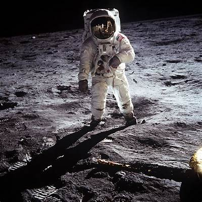 Buzz Aldrin Moon Walk - Armstrong Reflected in Visor