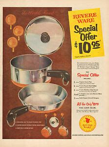 vintage ad revere ware copper clad stainless steel cookware  ebay