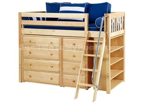 kaching  twin mid height storage loft bed  angled