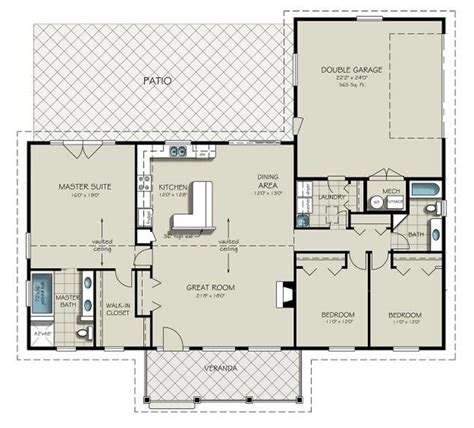 simple open floor house plans ranch style house plan 3 beds 2 baths 1924 sq ft plan 427 6
