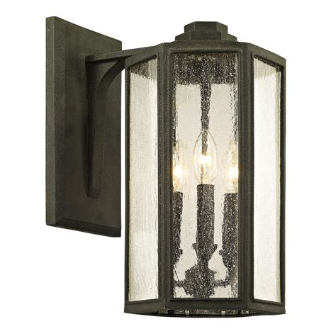 troy lighting hancock 3 light vintage bronze 15 5 in h outdoor wall sconce with clear