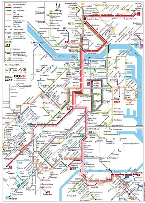 large detailed public transportation map  linz city