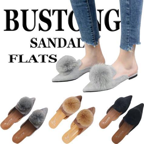 Flatshoes Hitam Gold bustong pom pom flat shoes wanita flatshoes pompom bulu