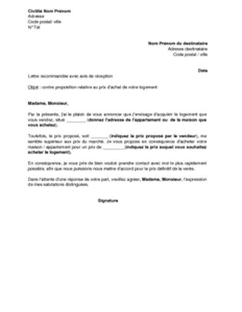 achat d une maison lettre refusant la proposition du vendeur d un bien immobilier et pr 233 cisant une contre