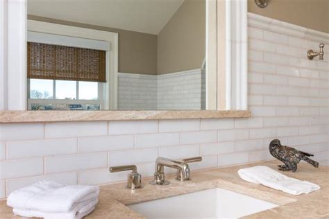 Inset Bathroom Mirror by Transitional White Tile Bathroom With Inset Mirror Hgtv