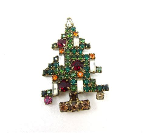 weiss christmas tree brooch 5 candle rhinestone weiss pin