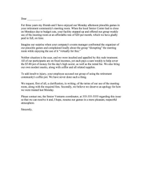 event venue rental complaint letter