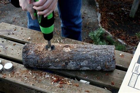yule log candle holder     votive candle