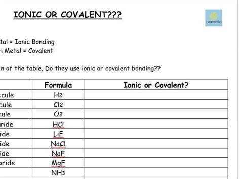 ionic or covalent worksheet gcse chemistry combined