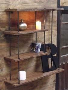 Petite Etagere Bois : etag res murale bois m tal meuble loft d coration parement mural tag re et etagere ~ Teatrodelosmanantiales.com Idées de Décoration