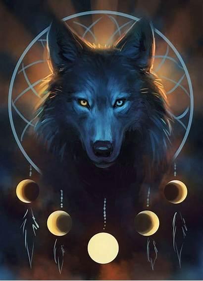Animal Painting Wolf Fantasy Artwork Galaxy Dreamcatcher