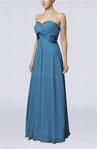 cornflower blue elegant empire sleeveless zipper chiffon With floor length dress wedding guest