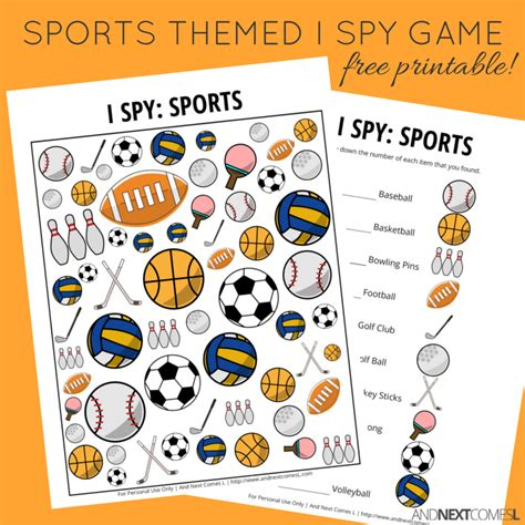 sports themed i spy game free printable for kids and