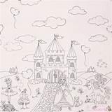 Castle Fairy Princess Coloring Border Fabric Kawaii Miller Panel Michael sketch template