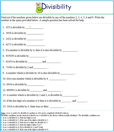 worksheet  divisibility test