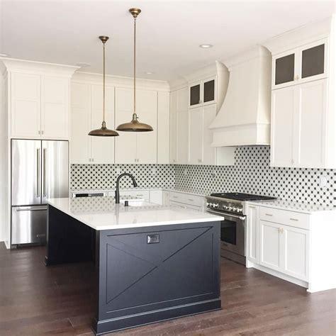 black  white kitchen  cement tile backsplash
