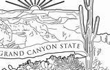 Canyon Grand Arizona Outline State National Coloring Quarter sketch template
