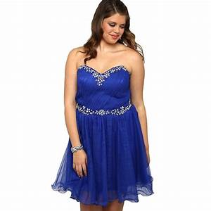 PW9079 Sparkly Beaded Sweetheart Royal Blue Short Plus ...
