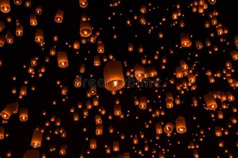 sky lanterns flying lanterns stock photo image