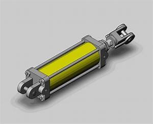 Hydraulic cylinder - SOLIDWORKS,STL - 3D CAD model - GrabCAD