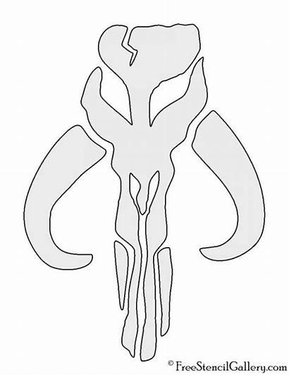 Mandalorian Stencil Skull Mythosaur Template Coloring Wars