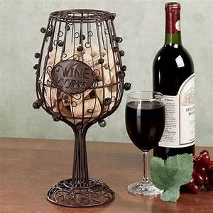 Rustic patio covers wine glass cork holder iron cork for Kitchen colors with white cabinets with rustic iron candle holders
