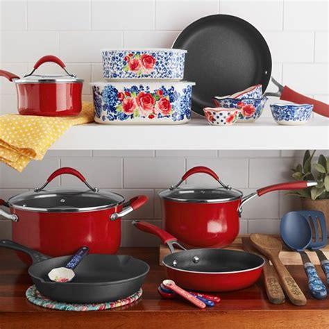 pioneer woman frontier speckle  piece nonstick cast iron cookware combo set walmart