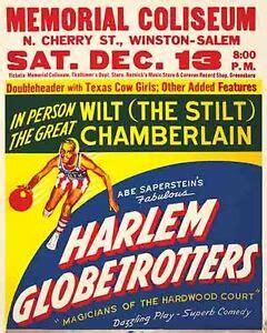 vintage antique rare poster  harlem globetrotters