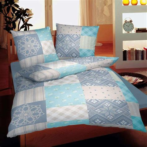 Bettwäsche Blau Grau by Feinbiber Bettw 228 Sche Patchwork Blau Grau Bettw 228 Sche
