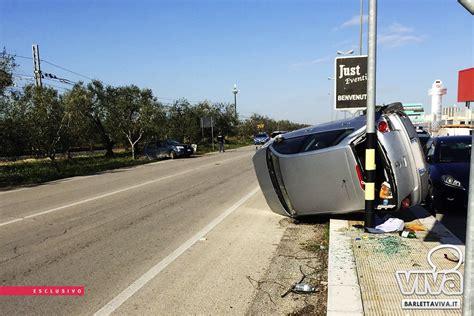 incidente stradale  barletta  ribalta auto su  trani