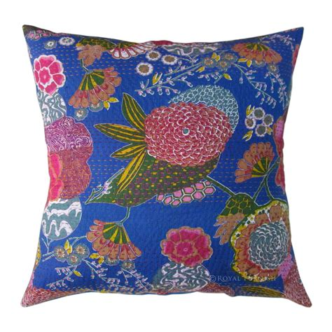 decorative pillow covers 24x24 24x24 quot blue indian kantha floral throw pillow cushion