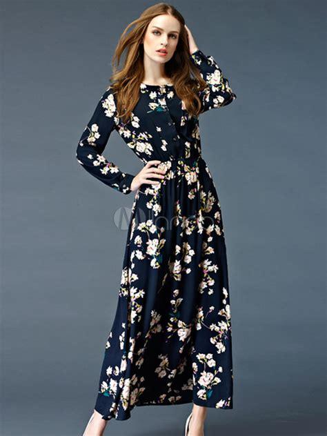 maxi kleid floral print navy sommer lang kleid langarm