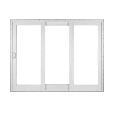 simonton white 3 panel rail sliding patio door with
