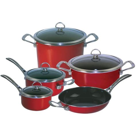 chantal   chili red copper fusion  piece cookware set overstock