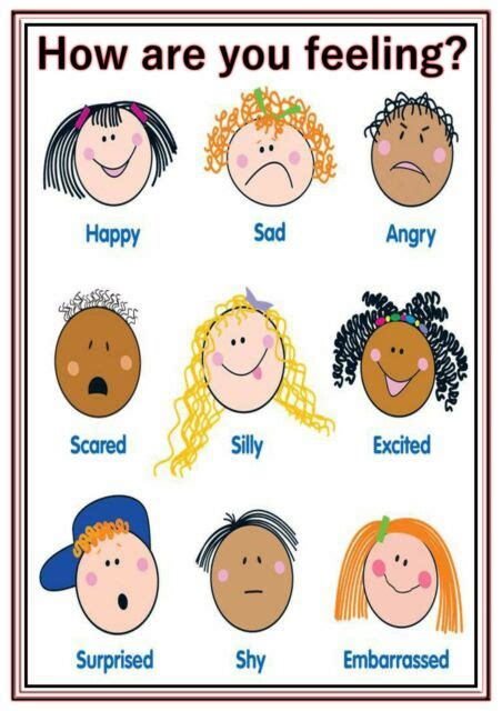 a4 poster sign feelings educational eyfs sen children 822 | s l640