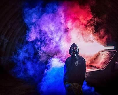 Smoke Colorful Cyberpunk Bomb Wallpapers 4k Mask