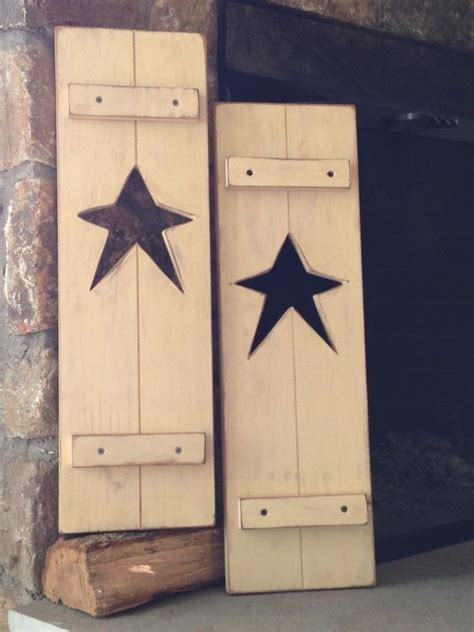 country crafts ideas primitive rustic set of 2 shutters antique ivory 1364