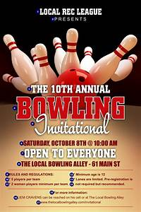 Ticket Printing Templates Bowling League Poster Bowling Fundraising Flyer Template