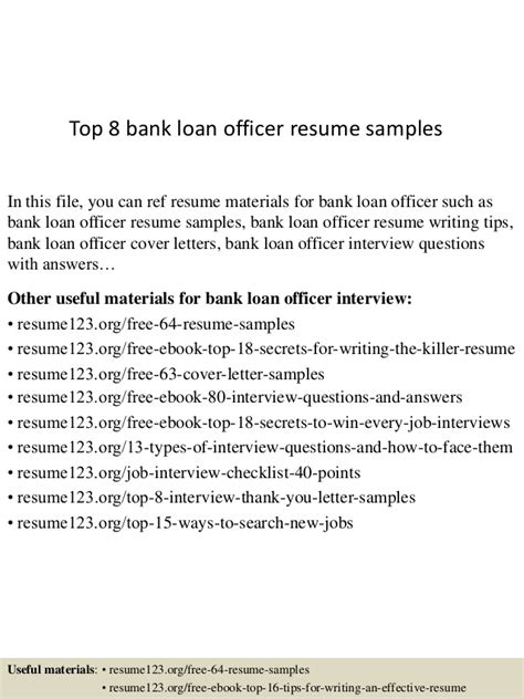 top 8 bank loan officer resume sles