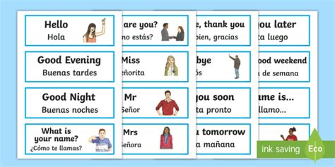 word cards english spanish teacher