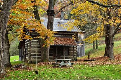 Cabin Fall Country Autumn Nature Grid Foliage