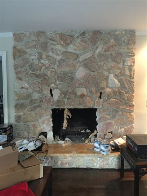Our 1980's stone fireplace