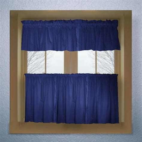 solid royal blue colored cafe style curtain includes