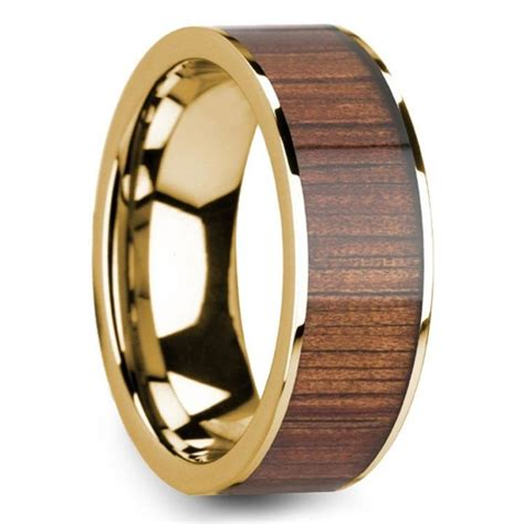 wide koa inlay s wedding ring in yellow gold